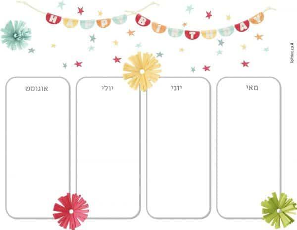 רשימת ימי הולדת