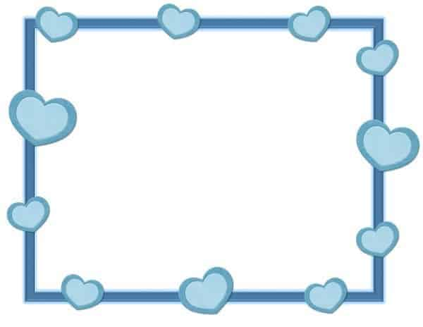 רקע כחול עם לבבות ומסגרת כחולה
