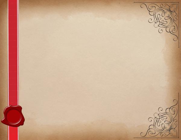 רקע של קלף עם סרט אדום וחותמת שעווה
