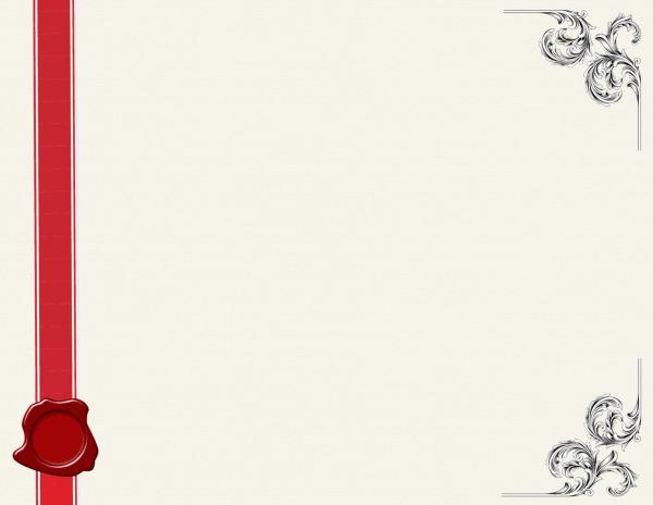 רקע קלף בהיר עם סרט אדום וקישוט בפינות