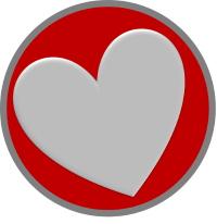 עיגול אדום עם לב בתוכו
